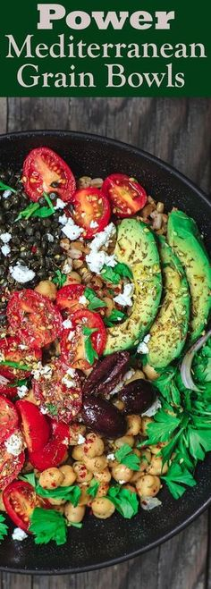 Mediterranean Grain Bowls Recipe | The Mediterranean Dish. Healthy, protein-packed grain bowls with lentils and chickpeas. Packed with Mediterranean flavors. A quick and easy weeknight dinner! From TheMediterraneanDish.com Changes, so I don't die: quinoa instead of farro, and remove the avocado (green goup of death!!). I choose life! And yummiess.