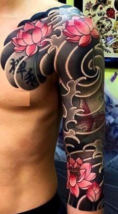 Japanese Dragon Tattoos, Japanese Tattoo Art, Japanese Tattoo Designs, Japanese Sleeve Tattoos, Full Sleeve Tattoos, Tattoo Sleeve Designs, Koi Tattoo Sleeve, Koi Dragon Tattoo, Japan Tattoo Design