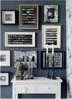 busy framed pictures...  use scrap book paper for some matting and different color frames...  also, look into old candle holders...  ive always like the look of tall candles, and have never used them aside from halloween...