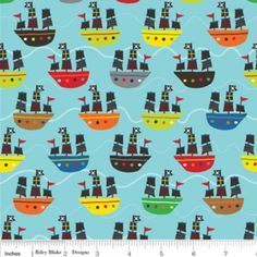 Riley Blake Treasure Map Collection - Boats on Aqua Blue- available off the bolt or cut into applique shapes!