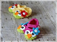 PDF Crochet Pattern No. 23 Owl Mary Janes Slippers Sizes