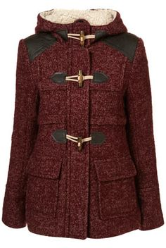 Textured Wool Duffle Coat with faux leather patches $140