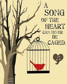 Items similar to A song of the heart can never be caged PRINT bird cage tree HipHeart by Lori Ramotar on Etsy
