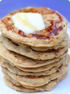 (Skip the oil and cook in a nonstick skillet) Oatmeal Pancakes - These light and fluffy oatmeal pancakes will leave you full of energy, ready to take on the day! Made with spelt flour, stevia, and rice milk (serves 3)