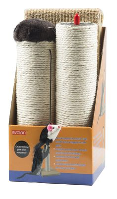 Evalan Cat Scratching Post Sisal Wrapped Ultimate Cat Scratcher 22 with Mouse Moving Cats Toy  You could obtain extra information at the photo web link. (This is an affiliate link).