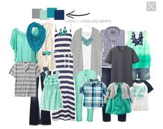 Looking for outfits for family pictures that fit this grey/aqua/navy theme!