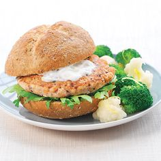 Provencal Salmon Burgers with Yogurt sauce and Broccoli Cauliflower Mixture at  372 calories a serving