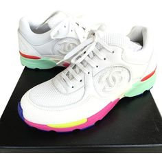 94a328a9356 Get the must-have athletic shoes of this season! These Chanel White 2015 Cc  Logo Suede Sneakers Tennis Trainers Rainbow Multi Sneakers Size US Regular  (M