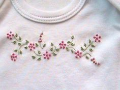 another sweet embroidered onesie Mais Mais Bullion Embroidery, Baby Embroidery, Embroidery Flowers Pattern, Hand Embroidery Stitches, Embroidery Fashion, Hand Embroidery Designs, Embroidery Applique, Beaded Embroidery, Smocking