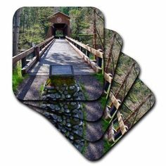 3dRose OR, McKee Covered Bridge, Applegate River - US38 JWI0424 - Jamie and Judy Wild, Soft Coasters, set of 8