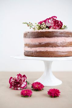 Rustic Vanilla Cake with Fresh Strawberry Buttercream
