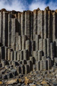 Basalt columns wall, Iceland. Iceland again... They really have the craziest landscape.