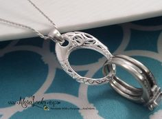 Sterling Silver Lattice Wedding Ring or Charm Holder by AloraLocks
