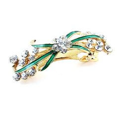Woman Girl Green Bowknot Rhinestone Barrette French Hair Clip Hairpin *** To view further for this item, visit the image link.