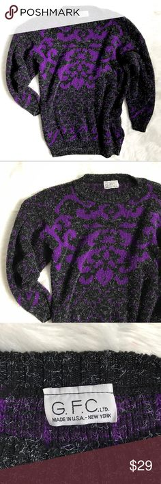 """Vintage Late 80's/ Early 90's Gray Purple Sweater This is a really cute sweater. It has 3/4 sleeves that bell a little bit. No shoulder pads. Size is unknown. Best guess is a medium. 40"""" bust. 34"""" waist. 24"""" long (all measurements are without stretching) Great condition. This sweater is very versatile. It can be worn with black skirt, jeans, or yoga pants for a casual look. Vintage Sweaters Crew & Scoop Necks"""