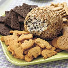 Cookie Dough Cheese Ball...tastes JUST like cookie dough, but it's safe to eat! Serve with graham crackers, animal crackers, teddy grahams....yummy!