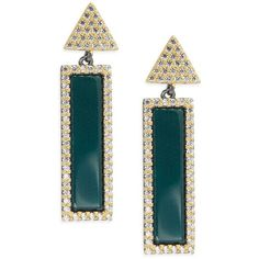 FREIDA ROTHMAN Classic Black Rhodium, 14K Goldplated Sterling Silver &... ($101) ❤ liked on Polyvore featuring jewelry, earrings, green, gold plated earrings, 14k cubic zirconia earrings, sterling silver cz earrings, geometric earrings and green agate earrings