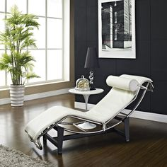 Le Corbusier Style LC4 White Genuine Leather Chaise Lounge - Overstock™ Shopping - Big Discounts on Lexington Modern Lounge Chairs