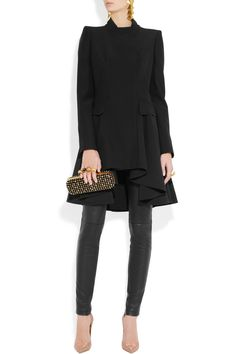 Alexander McQueen black crepe frock coat