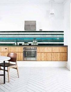 striped tile backsplash.
