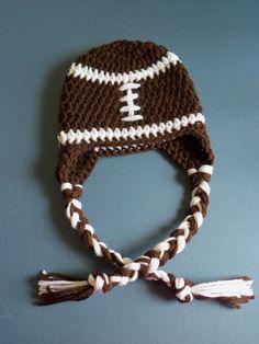 Crochet Football Hat, Baby Football Hat, Baby boy, Newborn. $13.50, via Etsy.
