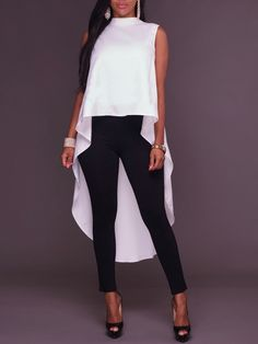 Fashion top with high and low folds Look Fashion, Trendy Fashion, Fashion Outfits, African Attire, African Fashion Dresses, Moda Outfits, Womens Fashion Online, Stylish Outfits, Plus Size Outfits