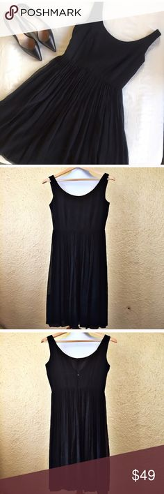 "J Crew Charlotte Silk Chiffon Black Dress LBD 2 Gorgeous silk chiffon dress in black from J Crew. This does not photograph as pretty as it looks in person, but you can see better detail in the plum dress. Features a scoop-neck, a zipper in the back, a fully lined skirt, and snaps to hide bra straps. A beautiful little black dress.   Fabric: 100% silk; lining 100% polyester  Approximate Measurements: Size: 2 Style: Charlotte Length: 37"" Bust: 34"" Waist: 27""  Condition: Excellent Used…"
