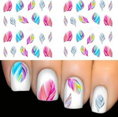 FEATHER Nail Art Water Transfer Decal Sticker Rainbow Dreams bright color sheet