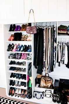 wall of shoes + pants and skirts