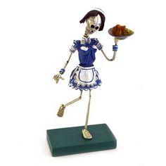 Waitress Skeleton for Day of the Dead