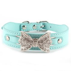 Crystal Bling Leather Bow-Tie Pet Collar
