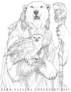 Polar bear medicine with snowy owl companion; the Art of Dark Natasha