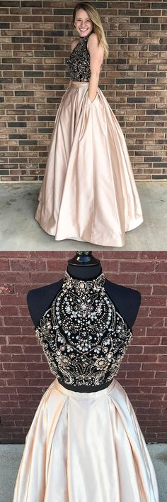 elegant 2 pieces prom evening gowns with beaded, fashion formal party dresses with open back, modest halter pearl pink party gowns. Hoco Dresses, Gala Dresses, Dance Dresses, Homecoming Dresses, Cute Dresses, Beautiful Dresses, Formal Dresses, Professional Dresses, Party Gowns