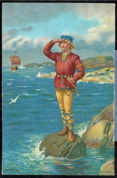 NIELSEN, EIVIND. Kartongkort. Gutt speider etter båten (J.F.),