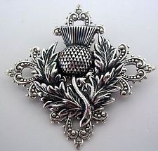 Sterling Silver Plated Celtic Vtg Insp THISTLE Scottish BROOCH or Hat Kilt PIN