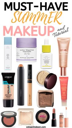 Summer Makeup Must Haves and Tutorial Sommer Make-up Must-Haves und Make-up Tutorial Sommer Make-up Looks, Sommer Make Up, Makeup Must Haves, Makeup To Buy, Makeup You Need To Have, Cheap Makeup, Makeup Bag Essentials, Beauty Essentials, Makeup Dupes