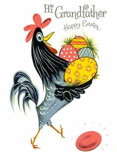 Урожай Пасхальная открытка, Дед, Петух с яйцами, неиспользованное