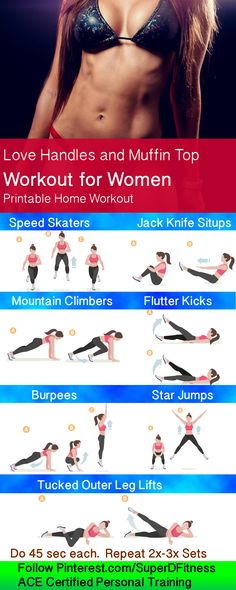 Lose your love handles and muffin top with this printable custom workout for women! Get fit, sexy, and have more energy as you achieve your new year exercise goals. Follow personal trainer at Pinterest.com/SuperDFitness now!
