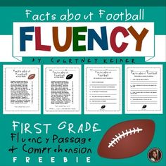Facts about Football 3 Day Fluency/Comprehension Reading InterventionThis is an original fluency passage I wrote and two comprehension worksheets to accompany the text. This package includes a teacher copy that you can print in color and reuse. It also includes a black and white copy that you can pr... Comprehension Worksheets, Comprehension Questions, Grade 1, First Grade, 2nd Grade Reading Worksheets, Progress Monitoring, Reading Intervention, Reuse, Texts