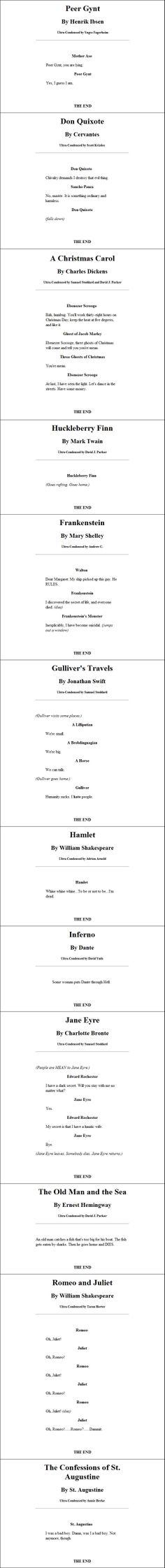 Ultra-condesned classic books. Repinning for Hamlet and St. Augustine.