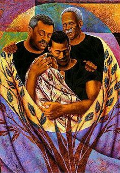 From Strong Roots is a work of art by Keith Mallett depicting a father, grandfather, and great grandfather looking proudly upon an infant being held by the father amidst a tree-patterned cover. Black Love Art, My Black Is Beautiful, Black Girl Art, Art Girl, Caricatures, Afrique Art, Black Art Pictures, Art Africain, Black Artwork