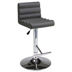 Hizzoner Hydraulic Grey Adjustable Barstool (30 bar height, #096 PU Gray) (Faux Leather)