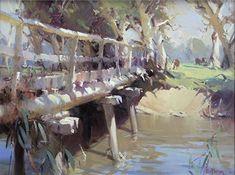 Bridge on Sevens-OIL 70 x 91 cm 2003 Cool Landscapes, Landscape Paintings, Outdoor Cafe, Australian Art, Tree Oil, Studio Portraits, Bridge, Illustrations, Watercolor
