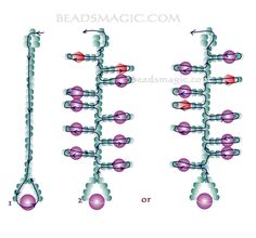 Free pattern for earrings Currant - 2 U need: seed beads 11/0 pearl beads 4-5  mm pearl beads 6-8 mm bicone beads 4-5 mm
