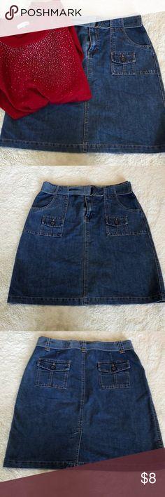 Cherokee denim skirt Super cute and has belt. Great Condition Cherokee Skirts Midi