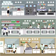 Scientist Working in Laboratory - People Characters Lab, Design Desk, Background Banner, Biotechnology, Engineers, Flat Illustration, Science Classroom, Vector Icons, Chemistry
