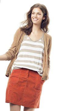 Caslon® Corduroy Skirt, paired 6 Ways: V-Neck Cardigan in Camel & Striped Racer Back #AugustCatalog #Nordstrom