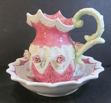 HAND PAINTED ROSE THEME PORCELAIN PITCHER AND BOWL SET