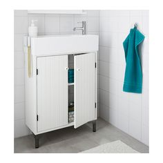 SILVERÅN / LILLÅNGEN Sink cabinet with 2 doors, white 23 5/8x10 5/8x36 3/4