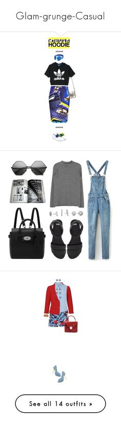 """Glam-grunge-Casual"" by sofia11297 ❤ liked on Polyvore featuring Lanvin, adidas, Mary Katrantzou, ASOS, Kendra Scott, Mulberry, denim, overalls, lightwash and River Island"